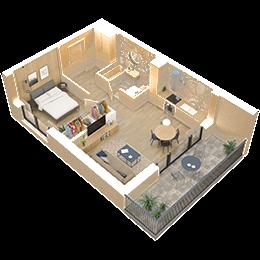 2 pokoje + aneks kuchenny